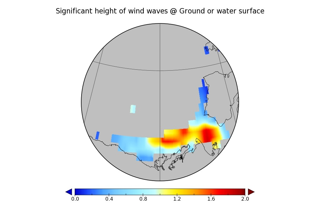 WaveWatch III wave height hindcast for the Beaufort Sea on April 26th 2016