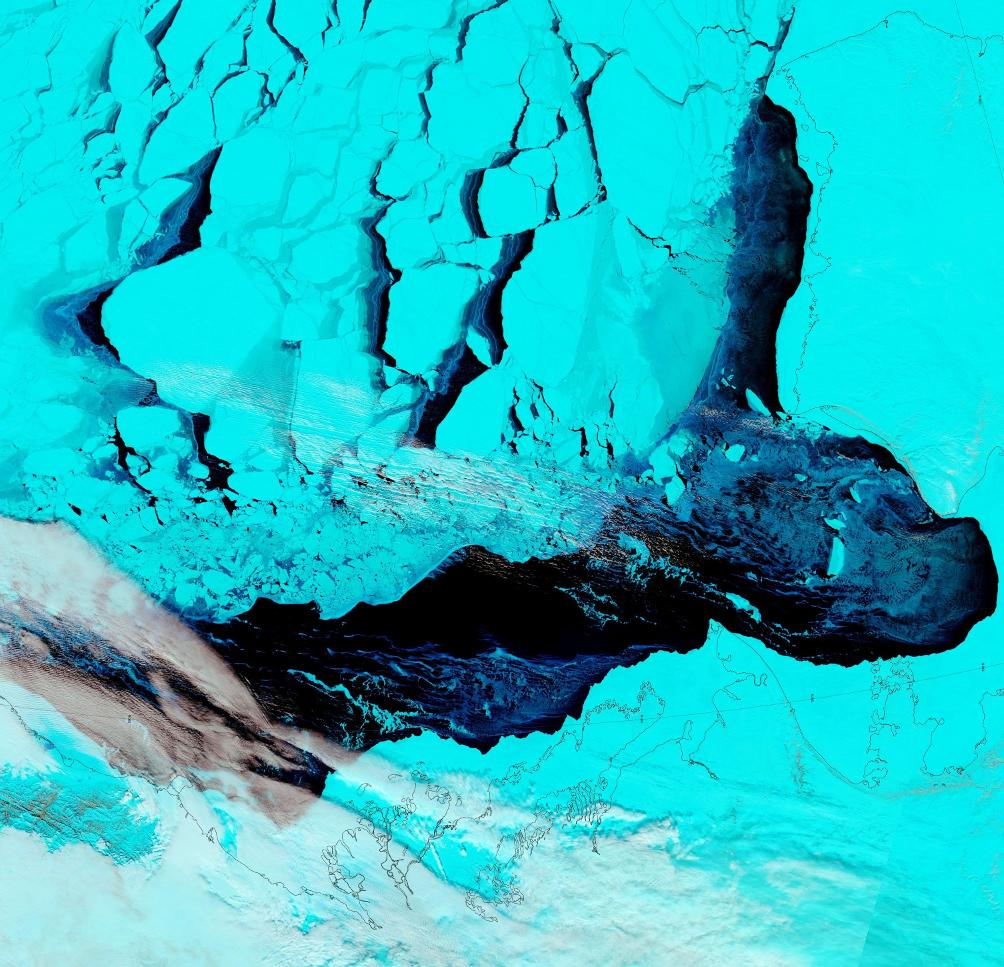 "NASA Worldview ""false-color"" image of the Beaufort Sea on April 26th 2016, derived from the MODIS sensor on the Terra satellite"