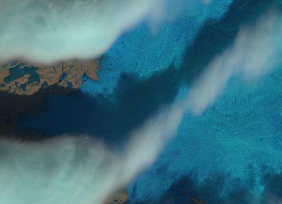 "A ""natural color"" image of South West Greenland on April 12th 2016, from the Landsat 8  satellite"