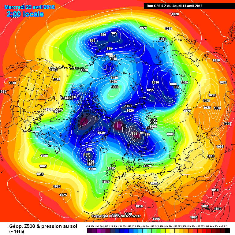 Northern Hemisphere surface pressure forecast for April 20th 2016
