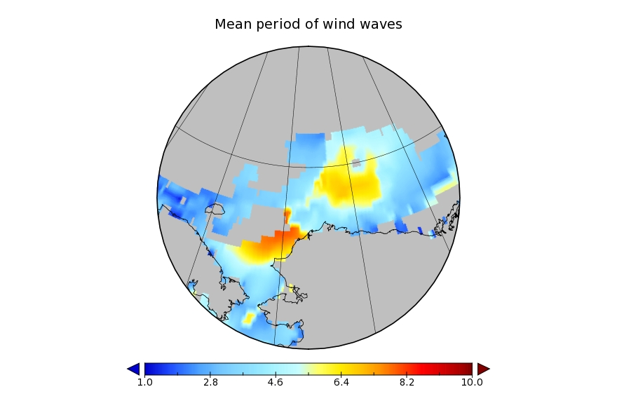 WaveWatch III wave period forecast for July 17th