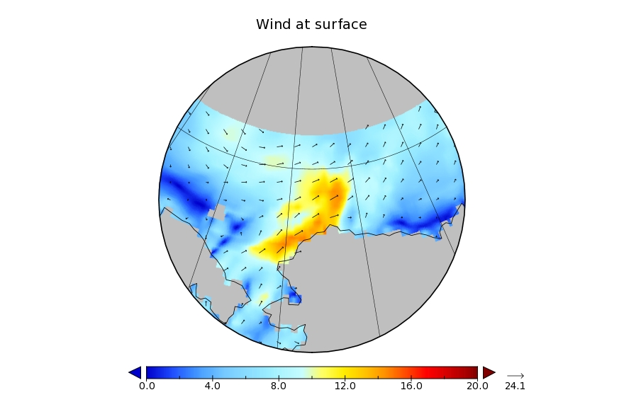 WaveWatch III wind forecast for July 17th
