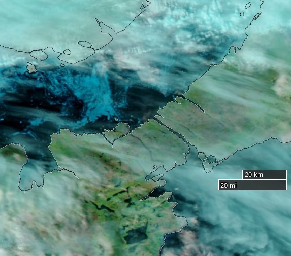 "NASA Worldview ""false-color"" image of the Bellot Strait on August 1st 2016, derived from the VIIRS sensor on the Suomi satellite"