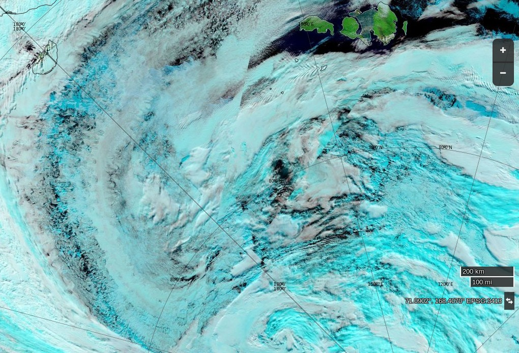 "NASA Worldview ""false-color"" image of the Arctic Basin on August 16th 2016, derived from the MODIS sensor on the Terra satellite"