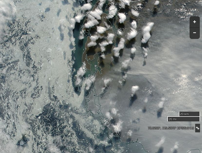 "NASA Worldview ""true-color"" image of the western Laptev Sea on August 14th 2016, derived from the MODIS sensor on the Aqua satellite"
