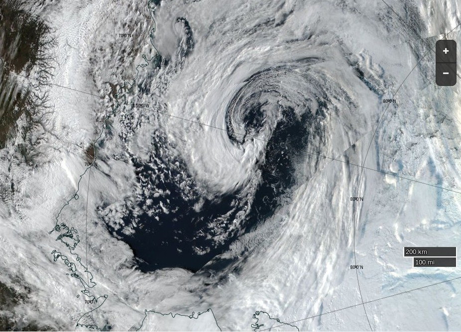 """NASA Worldview """"true-color"""" image of the Beaufort Sea on September 18th 2016, derived from the VIIRS sensor on the Suomi satellite"""