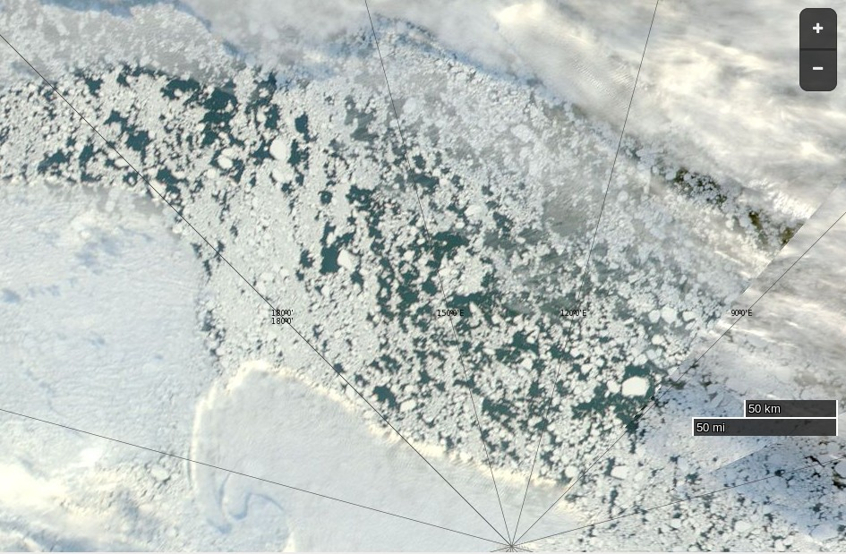"NASA Worldview ""true-color"" image of the North Pole on September 5th 2016, derived from the MODIS sensor on the Aqua satellite"