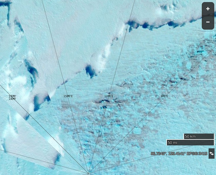 "NASA Worldview ""false-color"" image of the North Pole on September 3rd 2016, derived from the MODIS sensor on the Terra satellite"