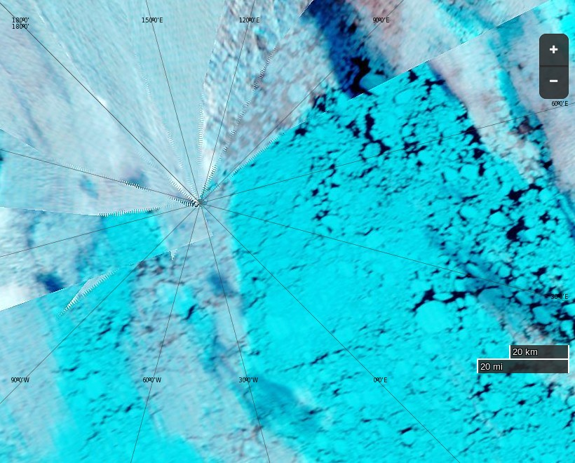 """NASA Worldview """"false-color"""" image of the North Pole on September 4th 2016, derived from the MODIS sensor on the Terra satellite"""