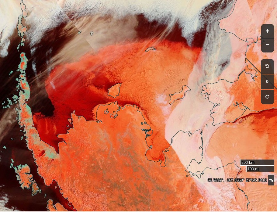 "NASA Worldview ""false-color"" image of the Bering Sea on March  22nd 2017, derived from the MODIS sensor on the Terra satellite"