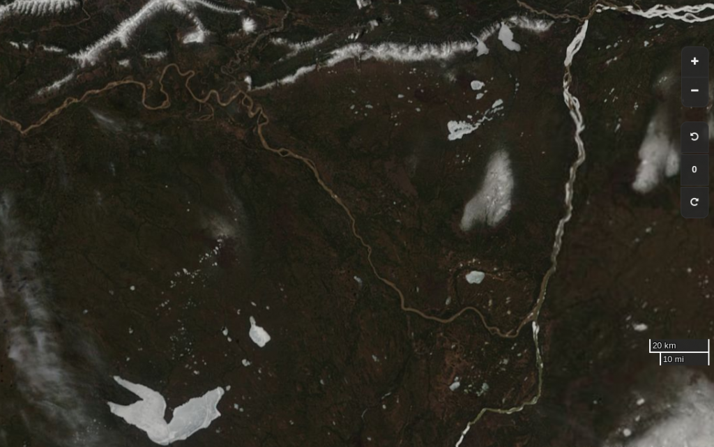 "NASA Worldview ""true-color"" image of the Liard and Mackenzie Rivers on May 11th 2017, derived from the MODIS sensor on the Terra satellite"