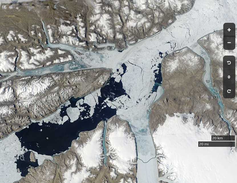 """NASA Worldview """"true-color"""" image of the northern Nares Strait on June 29th 2018, derived from the MODIS sensor on the Terra satellite"""