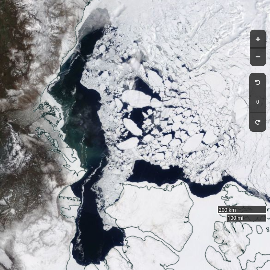 "NASA Worldview ""true-color"" image of the Beaufort Sea on May 21st 2019, derived from the MODIS sensor on the Terra satellite"