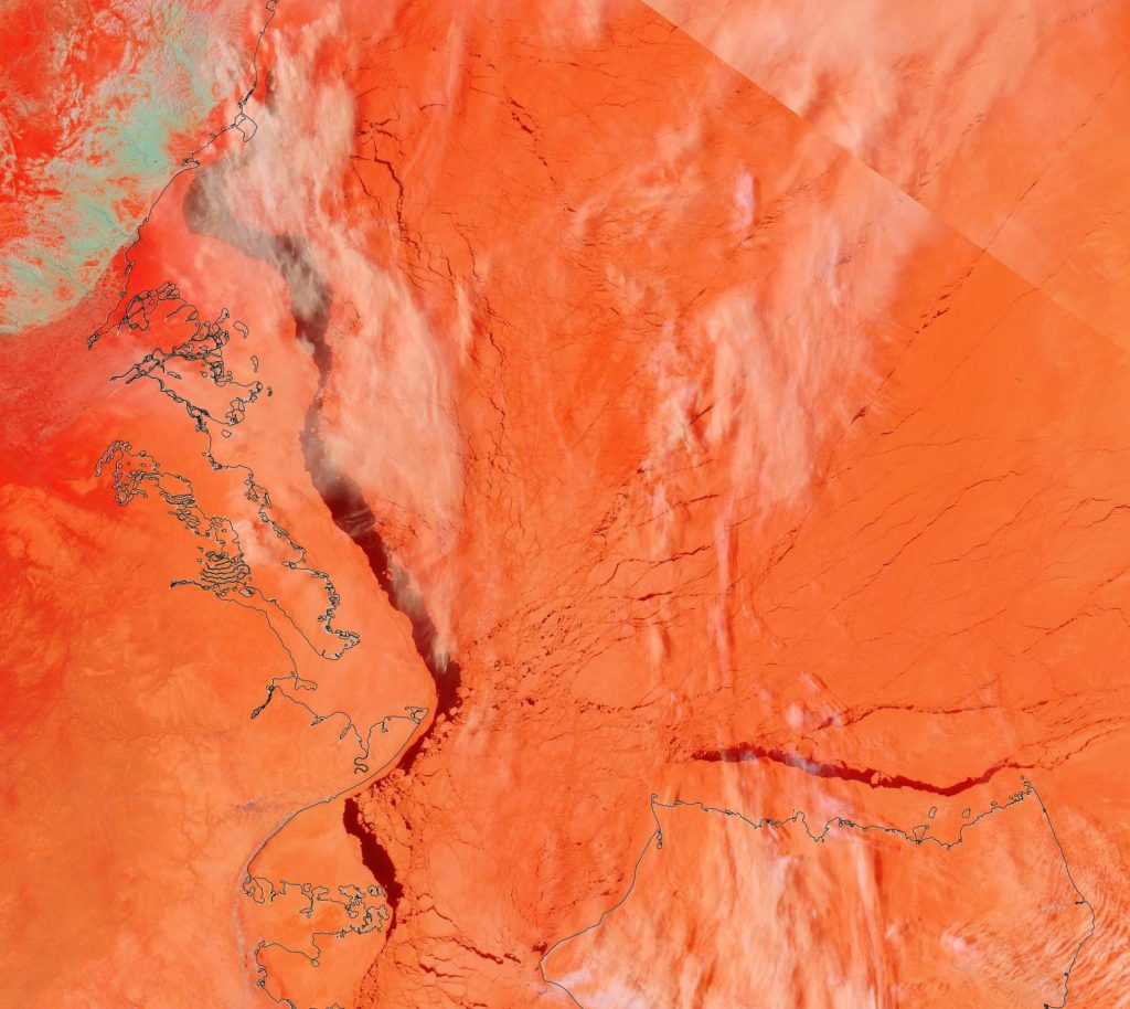 "NASA Worldview ""false-color"" image of the Beaufort Sea on May 9th 2020, derived from the MODIS sensor on the Terra satellite"