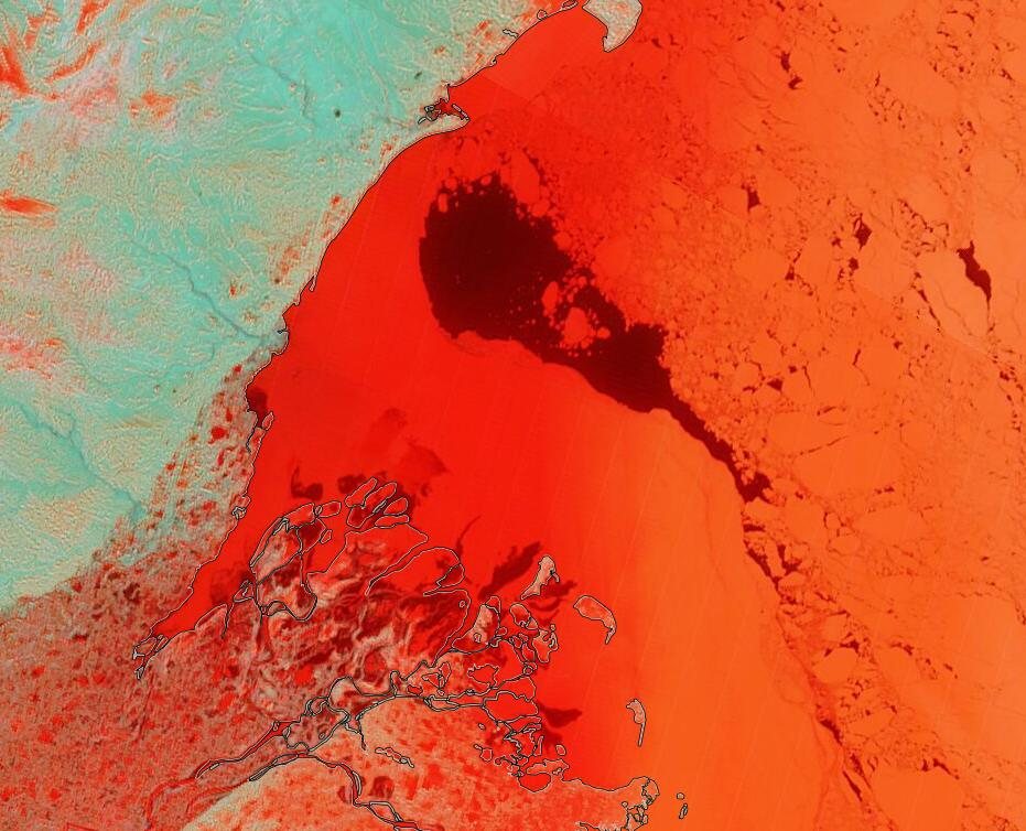 "NASA Worldview ""false-color"" image of the Beaufort Sea on May 22nd 2020, derived from the MODIS sensor on the Terra satellite"