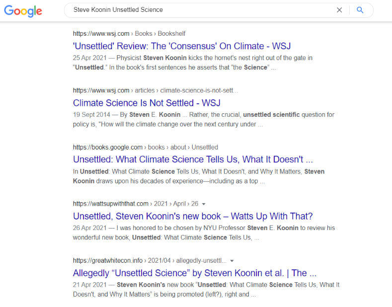 "Search results for Steven Koonin's ""Unsettled Science"" book"
