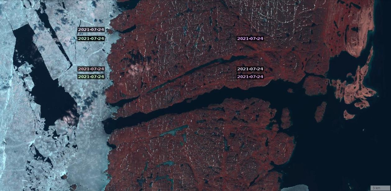 Sentinel 2 visualisation of Bellot Strait on July 24th 2021